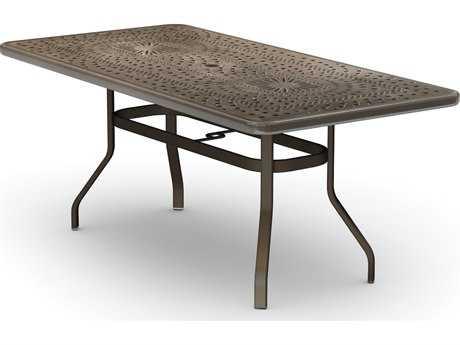 Homecrest Camden Cast Aluminum 84 x 42 Rectangular Balcony Table with Umbrella Hole