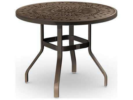 Homecrest Camden Cast Aluminum 42 Round Balcony Table with Umbrella Hole