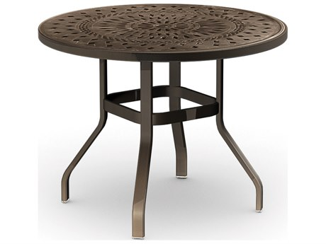 Homecrest Camden Cast Aluminum 42 Round Balcony Table with Umbrella Hole