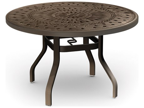 Homecrest Camden Cast Aluminum 42 Round Dining Table with Umbrella Hole