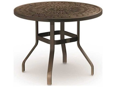 Homecrest Camden Cast Aluminum 54 Round Balcony Table with Umbrella Hole