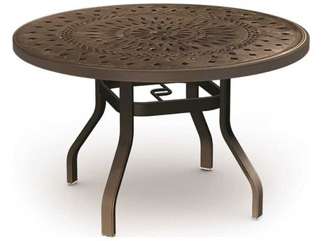 Homecrest Camden Cast Aluminum 54 Round Dining Table with Umbrella Hole