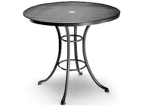 Homecrest Mesh Aluminum 30 Round Bistro Table with Umbrella Hole and Steel Base