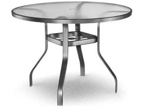 Homecrest Glass Aluminum 48 Round Counter Table with Umbrella Hole