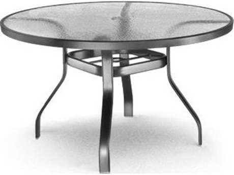 Homecrest Glass Aluminum 48 Round Dining Table with Umbrella Hole