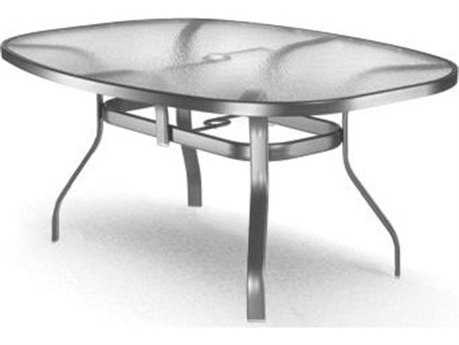 Homecrest Glass Aluminum 78 x 43 Oval Dining Table with Umbrella Hole