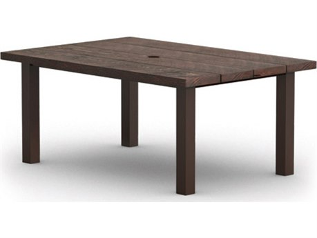Homecrest Timber Aluminum 62 x 42 Complete Rectangular Dining Table with Hole Post Base