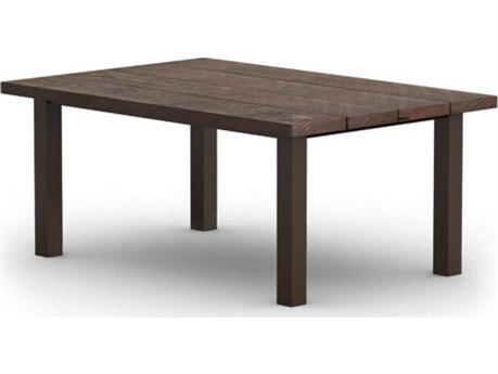 Homecrest Timber Aluminum 62 x 42 Rectangular Dining Table with Post Base