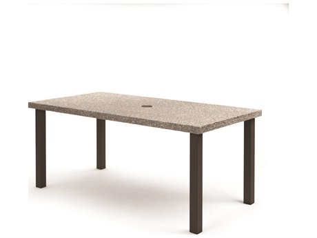 Homecrest Shadow Rock Aluminum 82''W x 42''D Rectangular Counter Table with Umbrella Hole