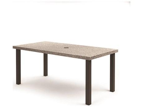 Homecrest Shadow Rock Aluminum 82''W x 42''D Rectangular Counter Table with Umbrella Hole HC254282BSH
