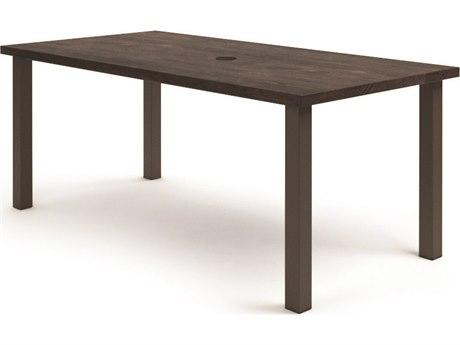 Homecrest Timber Aluminum 84''W x 42''D Rectangular Counter Table with Umbrella Hole HC254284BTM