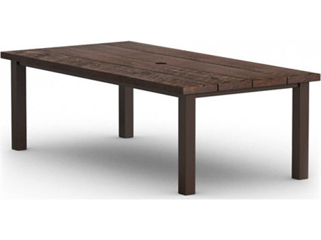 Homecrest Timber Aluminum 84 x 42 Rectangular Dining Table with Hole Post Base