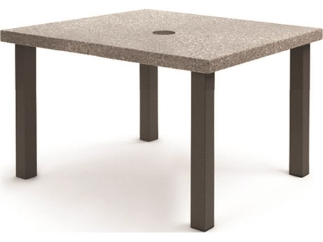 Homecrest Stonegate Aluminum 42'' Wide Square Dining Table with Umbrella Hole