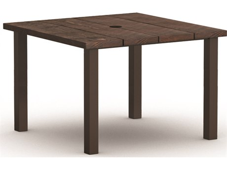 Homecrest Timber Aluminum 48'' Wide Square Counter Table with Umbrella Hole