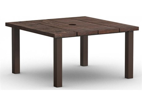 Homecrest Timber Aluminum 48 Square Dining Table with Hole Post Base