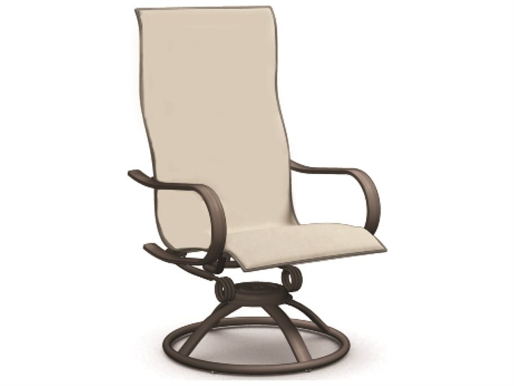 Homecrest Holly Hill Sling Aluminum High BacSwivel Rocker Dining Arm Chair PatioLiving