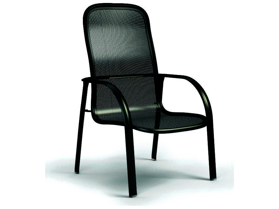 High Back Patio Furniture: Homecrest Florida Mesh Aluminum High Back Arm Stackable