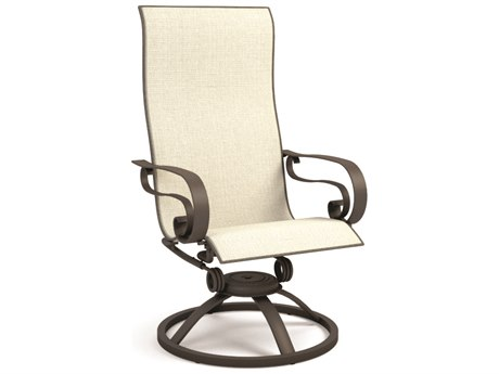 Homecrest Emory Sling Aluminum High Back Swivel Rocker Dining Arm Chair