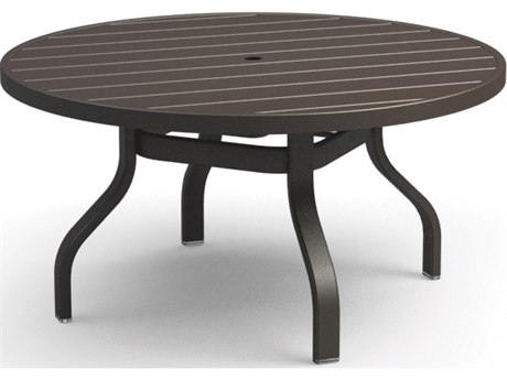 Homecrest Breeze Aluminum 42 Round Chat Table with Umbrella Hole