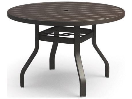 Homecrest Breeze Aluminum 42 Round Dining Table with Umbrella Hole