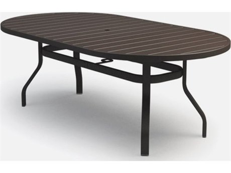 Homecrest Breeze Aluminum 78 x 44 Oval Balcony Table with Umbrella Hole