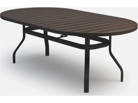 Homecrest Breeze Aluminum 78 x 44 Rectangular Bar Table with Umbrella Hole