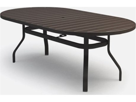 Homecrest Breeze Aluminum 78 x 44 Oval Dining Table with Umbrella Hole