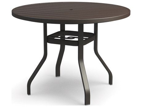 Homecrest Breeze Aluminum 48 Round Balcony Table with Umbrella Hole