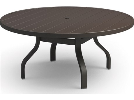 Homecrest Breeze Aluminum 48 Round Chat Table with Umbrella Hole
