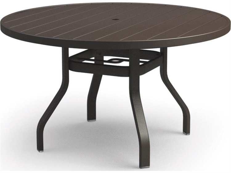 Homecrest Breeze Aluminum 48 Round Dining Table with Umbrella Hole
