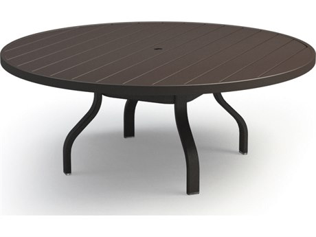 Homecrest Breeze Aluminum 54 Round Chat Table with Umbrella Hole