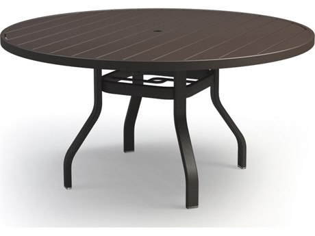 Homecrest Breeze Aluminum 54 Round Dining Table with Umbrella Hole