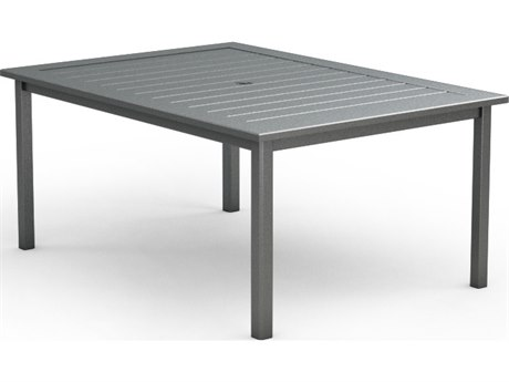 Homecrest Dockside Aluminum 44 x 62 Rectangular Dining Table with Umbrella Hole