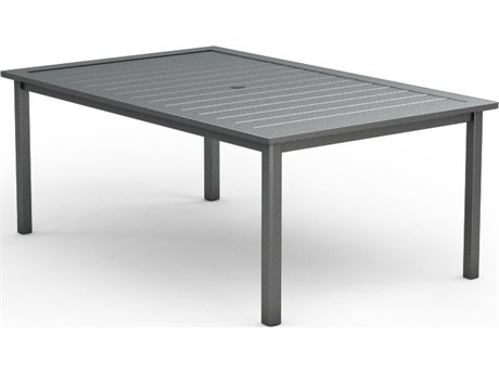 Homecrest Aluminum 44 x 70 Rectangular Dining Table with Umbrella Hole