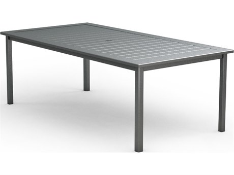 Homecrest Dockside Aluminum 87 x 44 Rectangular Cafe Table with Umbrella Hole