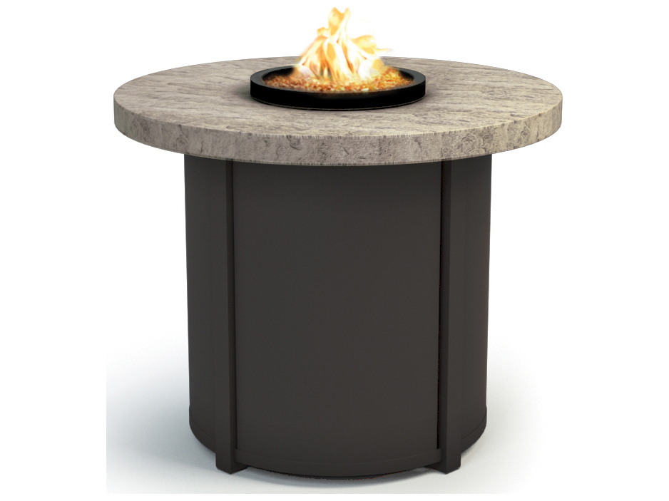 Homecrest sandstone aluminum 30 round chat fire pit table for Concreteworks fire table