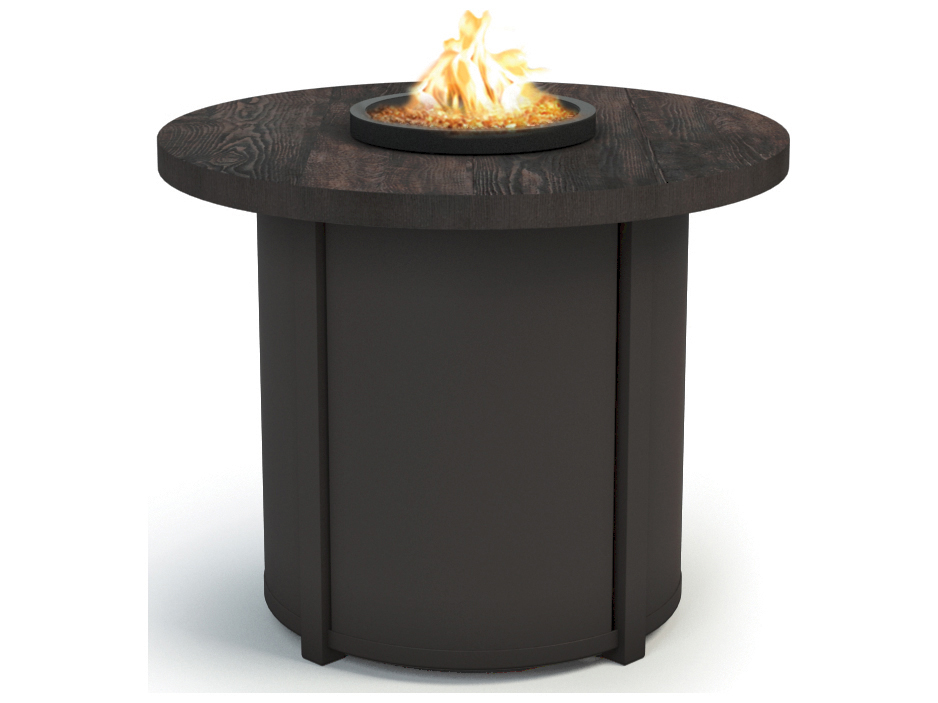Homecrest timber aluminum 30 round chat fire pit table for Concreteworks fire table