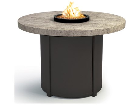 Homecrest Sandstone Aluminum 36 Round Chat Fire Pit Table