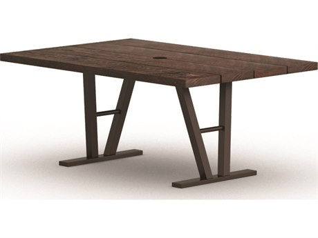 Homecrest Timber Aluminum 62 x 42 Rectangular Dining Table with Hole Architectural Base