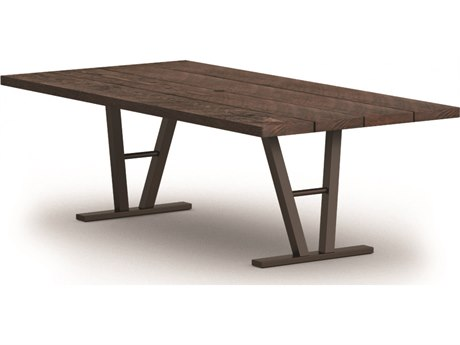 Homecrest Timber Aluminum 84 x 42 Rectangular Dining Table with Hole Architectural Base