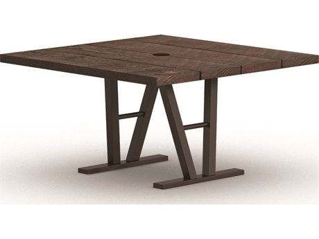 Homecrest Timber Aluminum 48 Square Dining Table with Hole Architectural Base