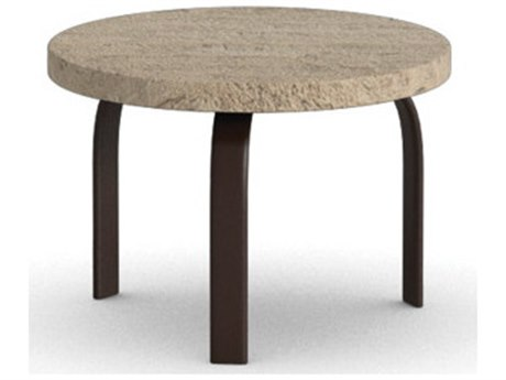 Homecrest Sandstone Faux Steel Round Stone End Table