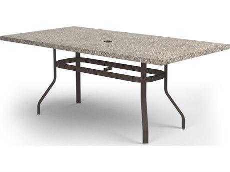 Homecrest Stonegate Aluminum 62 x 42 Rectangular Dining Table with Umbrella Hole