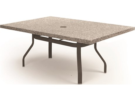 Homecrest Shadow Rock Aluminum 62''W x 42''D Rectangular Dining Table with Umbrella Hole