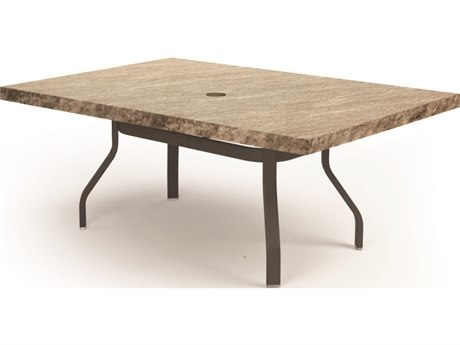 Homecrest Slate Aluminum 62''W x 42''D Rectangular Dining Table with Umbrella Hole