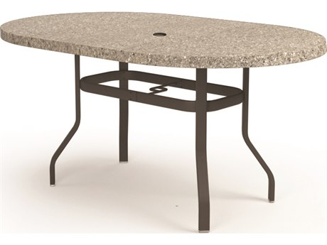 Homecrest Shadow Rock Aluminum 72 x 42 Oval Balcony Table with Umbrella Hole