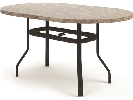 Homecrest Slate Aluminum 72 x 42 Oval Balcony Table with Umbrella Hole