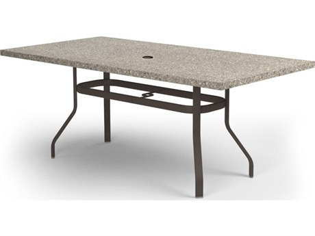 Homecrest Shadow Rock Aluminum 82 x 42 Rectangular Balcony Table with Umbrella Hole