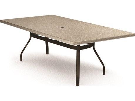 Homecrest Shadow Rock Aluminum 82 x 42 Rectangular Dining Table with Umbrella Hole
