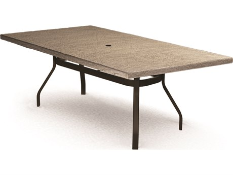 Homecrest Slate Aluminum 82 x 42 Rectangular Dining Table with Umbrella Hole